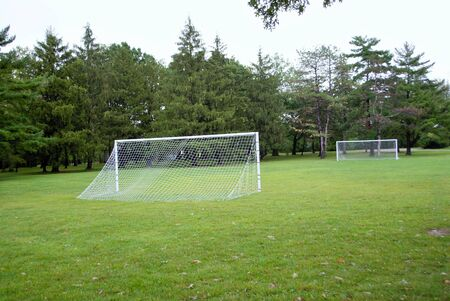 empty soccer field football pitch in a park