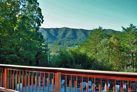View of the mountains landscape background resort in great smoky mountain national park Tennessee
