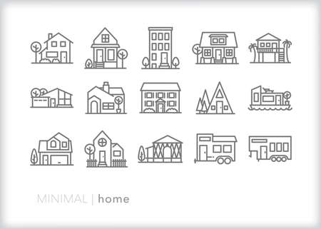 Home line icon set of types of single-family homes and buildings