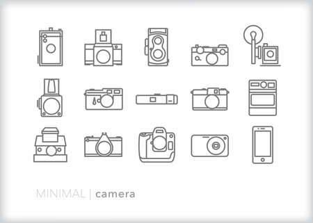 Camera icon set of different types of film, digital, SLR cameras for photographers shooting in 35 mm, medium format and large format photography.