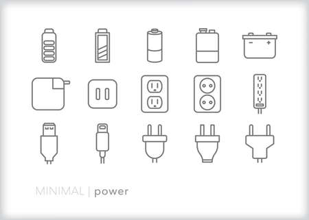 Power icons of different ways to transfer energy to technology and devices