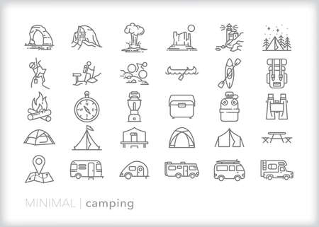 Camping icon set of sites, activities and gear for an outdoor trip