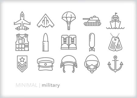 Military icon set of items representing armed forces including the army, air force and navy Vetores