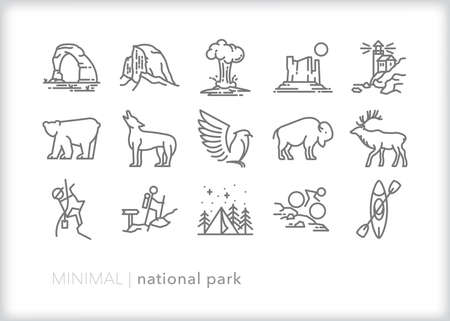 National Parks icon set of sites, animals and activities for campers, hikers and tourists of America's protected lands