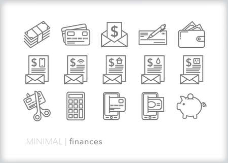 Finances icon set of bills, money, checkbook, credit card and other ways to exchange funds