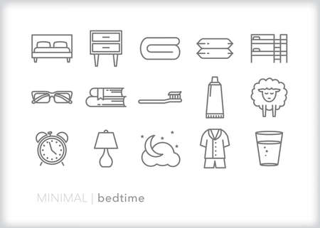 Bedtime icon set of items a person would use to get ready for bedtime at night