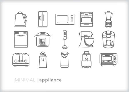 Appliance icon set of electric kitchen tools for cooking
