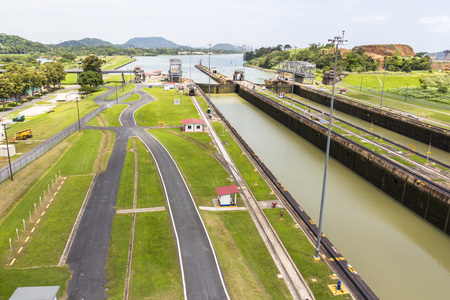 miraflores: Overview of the Panama Canal at Miraflores lock