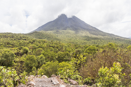 vulcanology: View of the Vulcan Arenal and the beautiful landscape in Costa Rica Stock Photo