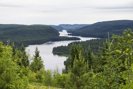 Parc Maurice, view of the Landscape with forests and river, Kanada