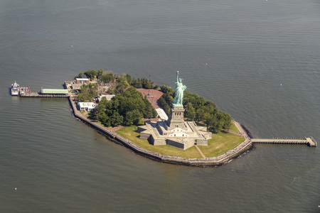 enlightening: Statue of Liberty from above, seen from a helicopter