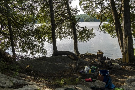 contryside: Campsite space on Canoe tour in Algonquin Parc, Canada
