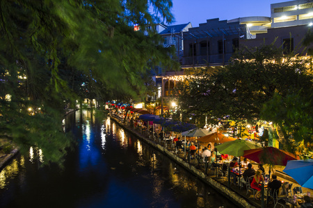 On the riverwalk in San Antonio at night, Texas Stock Photo