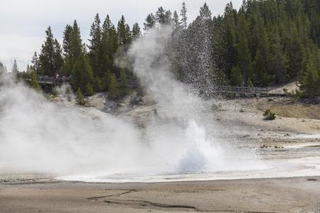 erupting: Erupting Geysir in Yellowstone National Park, Wyoming Stock Photo