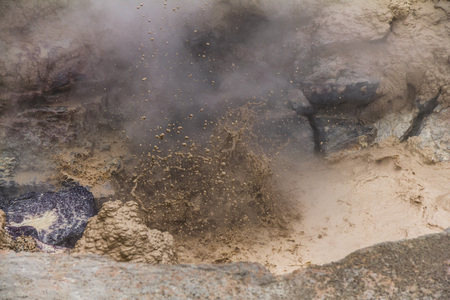 mud pit: Bubbling Mud Hole in Yellowstone National Park Stock Photo