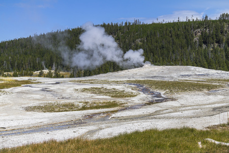 eruption: Old faithful geysir shortly before eruption, Yellowstone