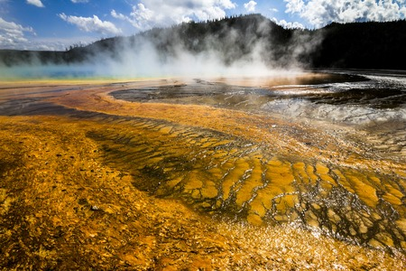 prismatic: Grand Prismatic Spring Pool in Yellowstone National Park