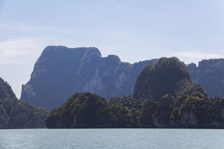 Big rocks in the water at Phang-Nga, Thailand Stock Photo