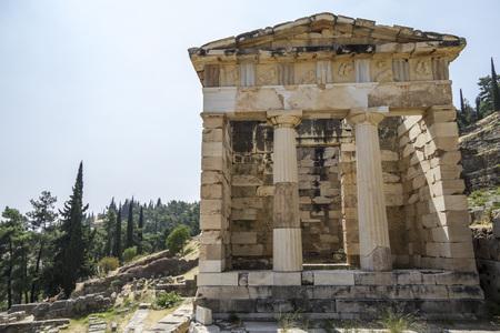 treasury: Athenian Treasury building at Delphi in Greece