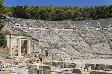 amphitheatre: The ancient amphitheatre of Epidaurus in Greece at daytime