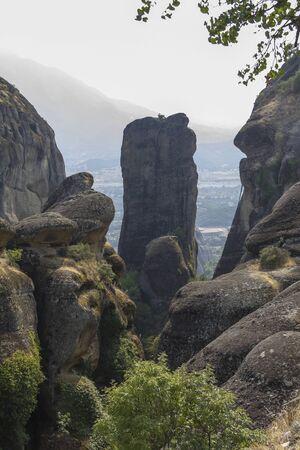 kalampaka: Tall rock at the famous meteora region in Greece