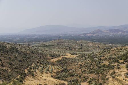 archeological site: Landscape in Greece around archeological site Mycenae Stock Photo