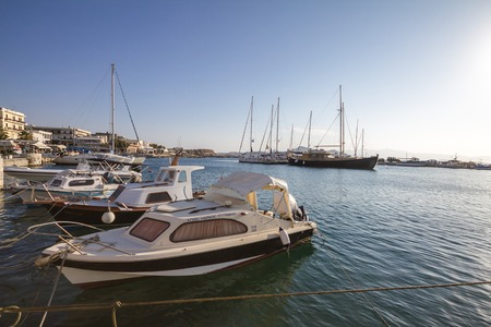 kyklades: At the port of the island of Naxos, Greece