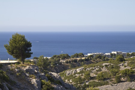 sea cliff: Landscape overview in the Calanques area in France Stock Photo