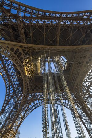 french culture: The Eiffel Tower architecture from below, Paris