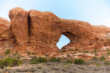 Stone window in Arches National Park, Utah, USA 版權商用圖片