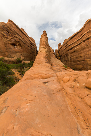 erosion: The trail on rocks in Arches National Park, Utah, USA Stock Photo