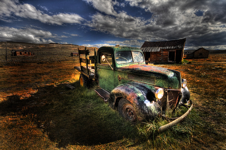 jalopy: Vintage car in ghost town Bodie, USA