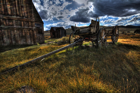 bodie: Old wagon in ghost town Bodie, USA