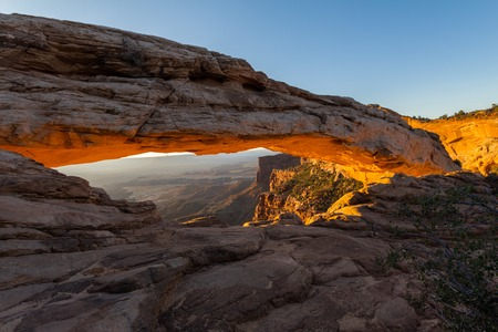 north window arch: The Mesa Arch before sunrise in Canyonlands, Utah, USA Stock Photo