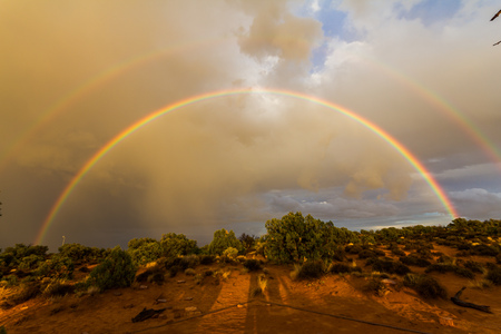 canyonlands: Double rainbow in the desert of Canyonlands in USA