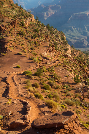 south kaibab trail: On south kaibab trail in the morning, Grand Canyon, Arizona, USA