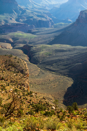 rock strata: Grand Canyon landscape view after sunrise, USA Stock Photo
