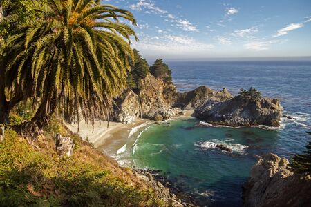 julia pfeiffer burns: View on bay with waterfall at Big Sur, California, USA Stock Photo