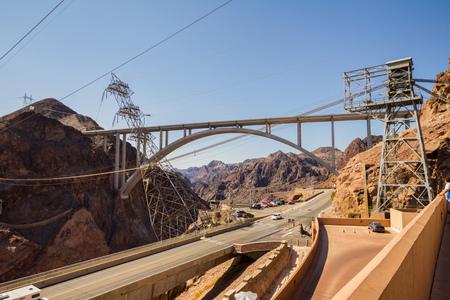 hoover: Street and bridge over street at Hoover Dam, Nevada