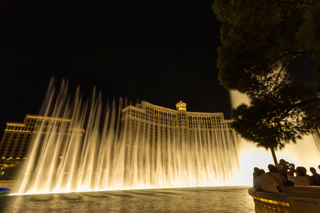 The Bellagio Fountains at night in Las Vegas, USA