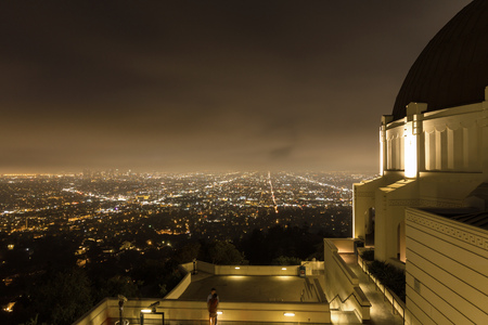 Griffith Observatory in Los Angeles at night, before closing Stock Photo