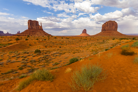 monument valley view: View on Monument Valley in red sand desert, Arizona
