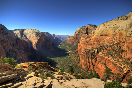 View on Zion National Park from Angels landing point, Utah Stock Photo