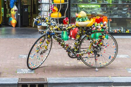 bycicle: Funky colorful bycicle in Amsterdam center, Netherlands