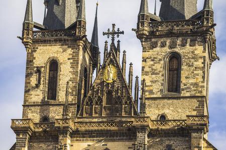 tynsky church: Towers of Teyn church in the center of Prague