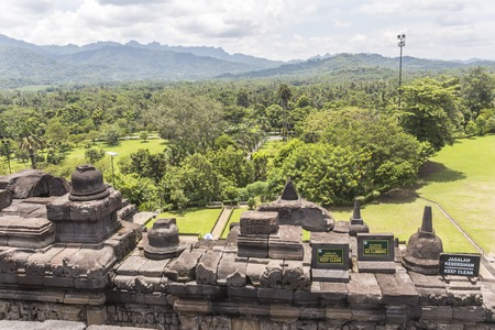 borobudur: View on landscape from Borobudur temple, Indonesia