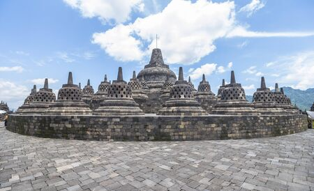 stupas: View on all ancient stupas in Borobudur temple