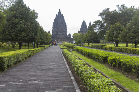 indo: Park at Prambanan temple on Java in Indonesia Stock Photo