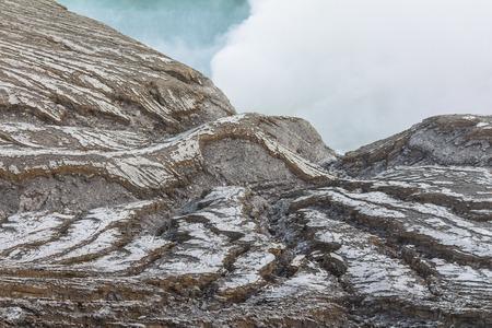 Sulfur gases on Ijen volcano in Java, Indonesia Stock Photo