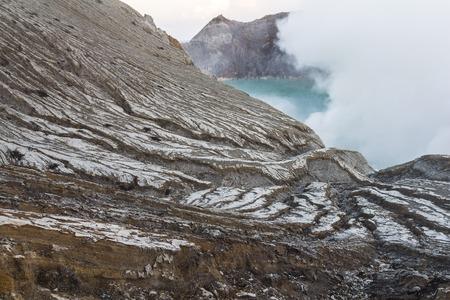 sulphuric acid: Sulfur gases on Ijen volcano in Java, Indonesia Stock Photo